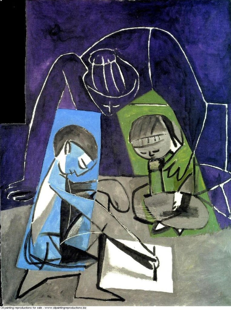 claude-dessinant-francoise-et-paloma-1954